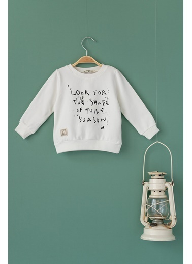 Cigit Look For Baskılı Sweatshirt Ekru